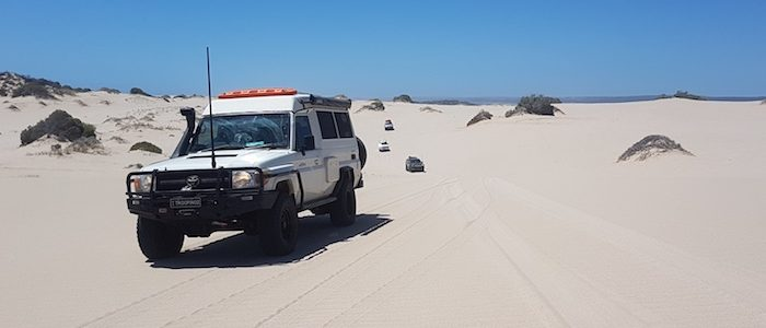 Brad and Julie driving across the Lucky Bay dunes in the Cruiser Troopy.