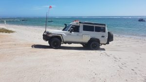 Brad and Julie leaving Horrocks Beach in the Troopy.