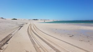 Easy drive along the beach to the end of the lagoon.