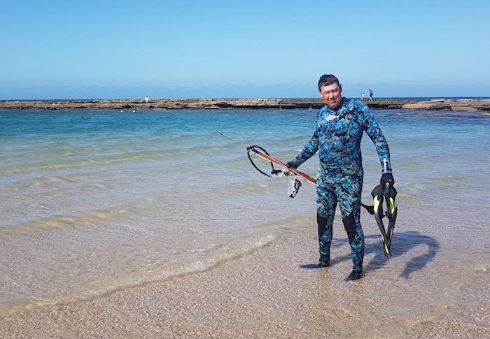 Matt about to go snorkelling.