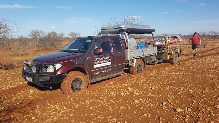 Even without the drag of the trailer the Navara would have bogged in the soft, wet ground