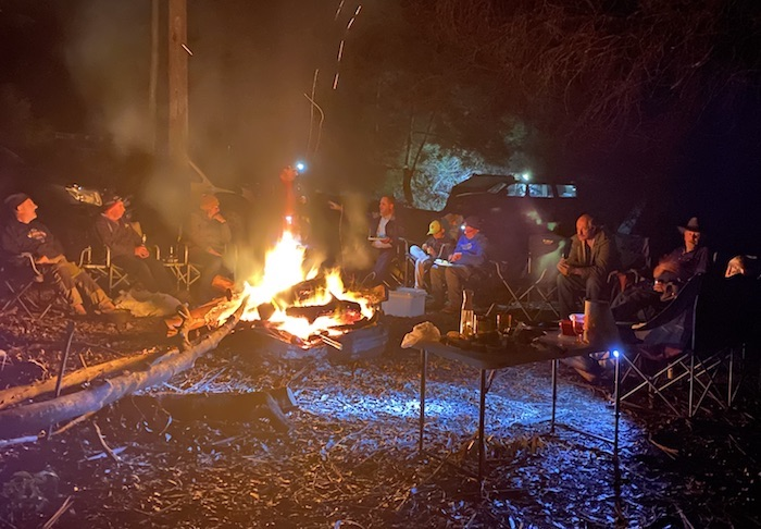 Around the fire at Grimwade.
