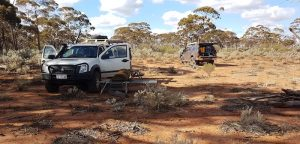Kim's Rodeo and Paul's Navara at our 'Fault Line Camp' 11 kilometres south of Mt Jackson.
