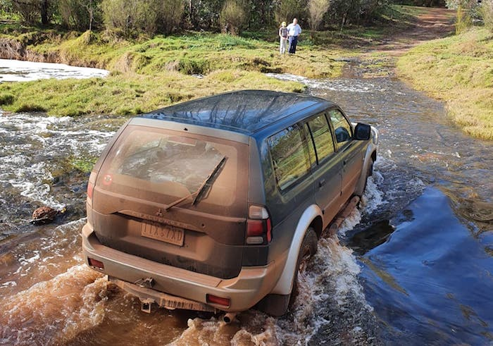 Neil crossing the Blackwood in his Mitsubishi.