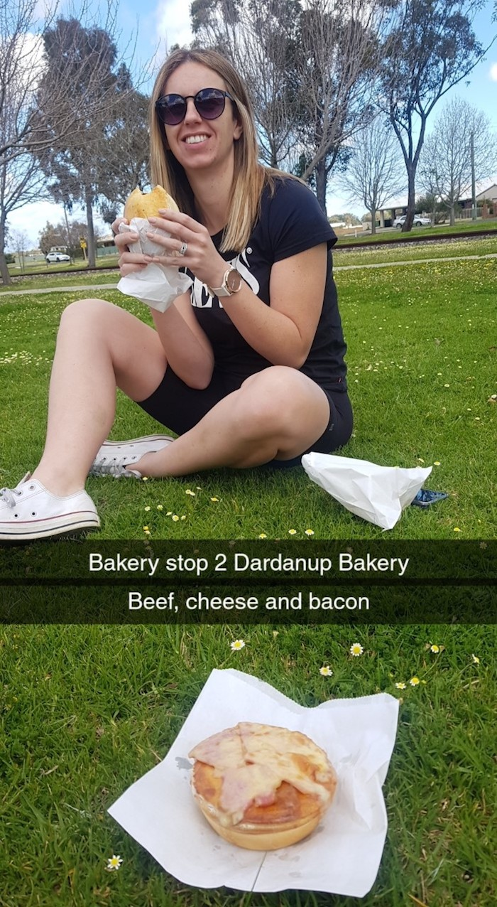 KIrsty enjoys some of the wares from Dardanup Bakery.