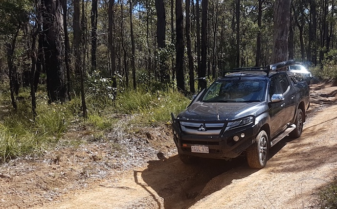 Nathan and Kirsty in their Triton, Dardanup Conservation Park.
