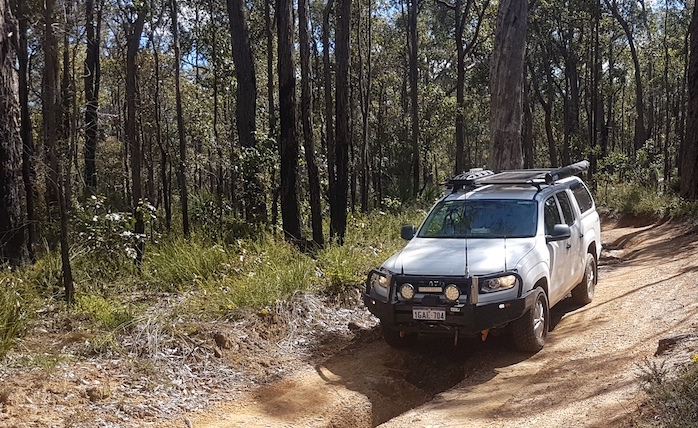 Nick and Fiona in the their Hilux, Dardanup Conservation Park.