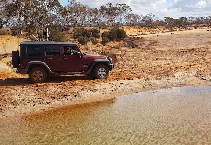 James and Tim in the Wrangler at Ponton Creek.
