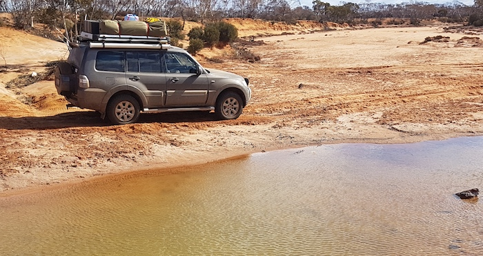 Paul and Andrew in the Pajero at Ponton Creek.