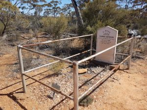 The grave of Thomas Davidson, a Scottish prospector who blew his brains out with a pistol.