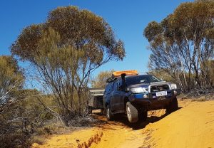 Peter's Hilux lifts a wheel.