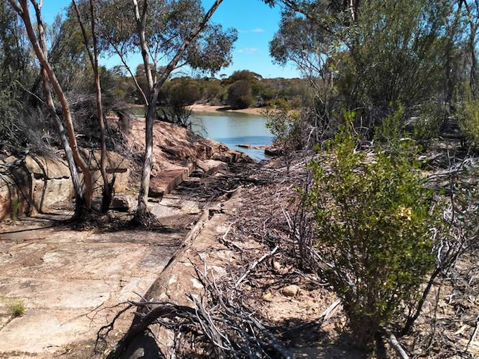 The feeder channel at the Yellowdine Rock water harvesting site.