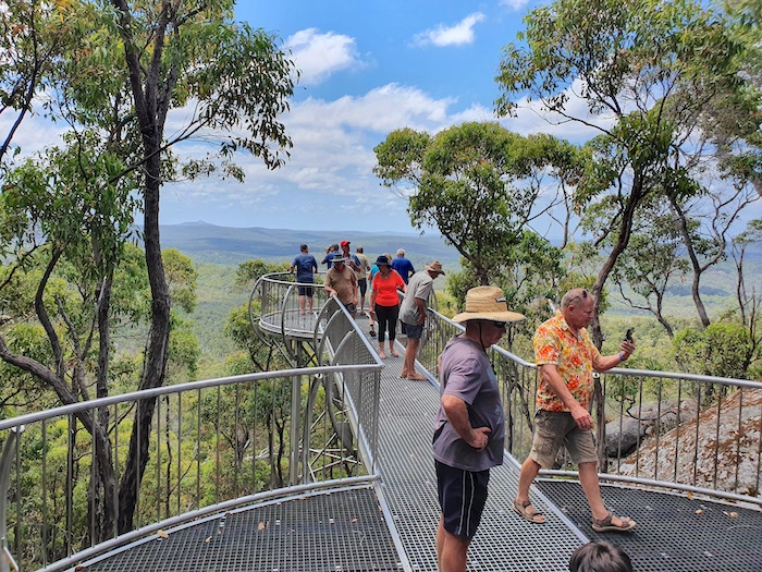 Jeff, Kim and others at the Mt Frankland Lookout.
