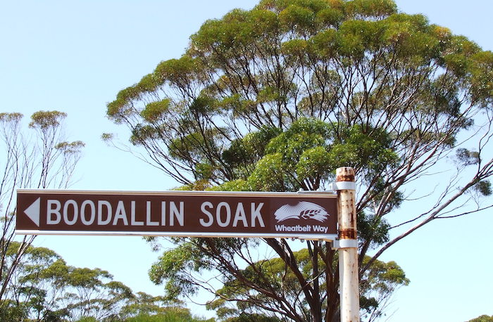"""One of three ways the name for the Soak is spelled. The next directional sign is spelled correctly as """"Boodalin"""". Occasionally spelled as Boodahlin."""
