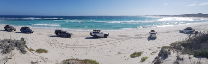 Our convoy on East Munglinup Beach.