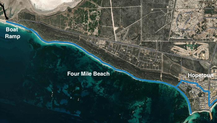 FROM BOAT RAMP TO HOPETOUN ALONG FOUR MILE BEACH