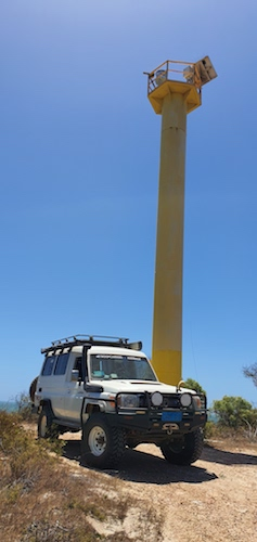 Mushy's Troopy at the Freshwater Point navigation and comms tower.