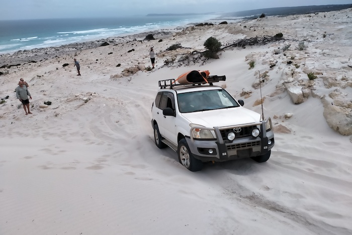 Jo drives the Prado through the section of track that we made.