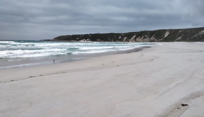 Western end of Thirteem Mile Beach with the lookout/headland in the background