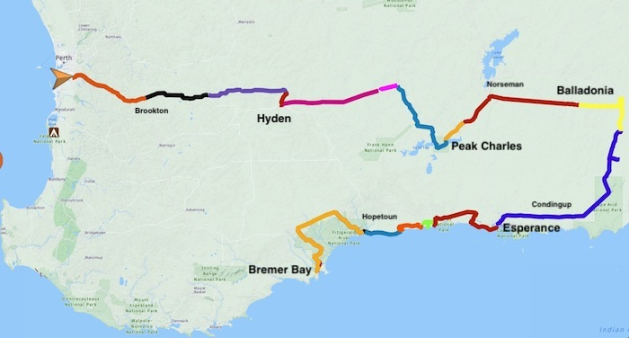 Route of the Remote South East Road Trip.