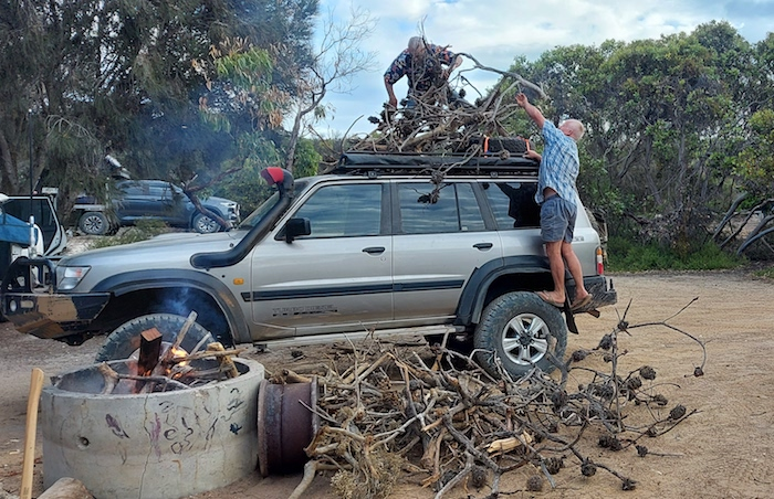 Offloading firewood at Starvation Boat Harbour campground.