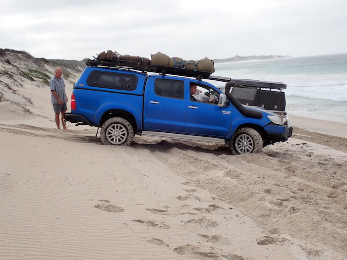 Peter turns the Hilux on an unnamed beach (WA Beach 222) before the point where Aaron bogged his Patrol.