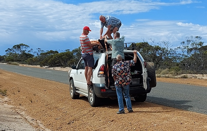 On the South Coast Highway repacking Jo and Andrew's swag on the roofrack