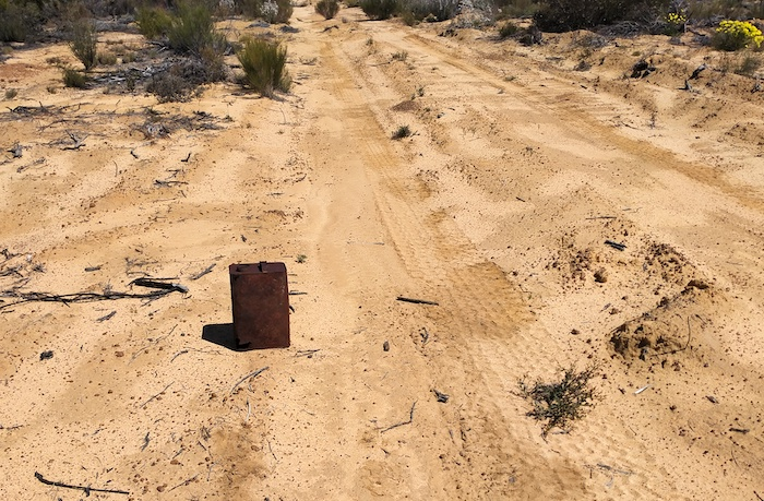 Rusted fuel can on Hunts Track.